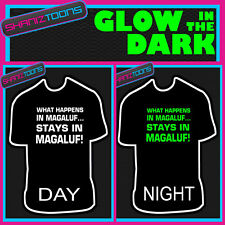 MAGALUF LADS FUNNY STAG PARTY HOLIDAY GLOW IN THE DARK PRINTED TSHIRT
