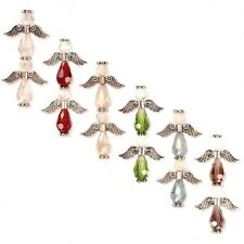 "Wholesale Faceted Crystal Glass Bead Angel Strand Silver Wings Halos 1"" Angels"