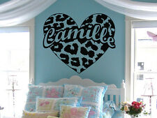 Personalized Leopard Print Heart Custom Name Vinyl Wall Decal Sticker