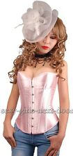 Sweety Pink Satin Size S-6XL CORSET Gorgeous Bustier Clubwear A074_pink