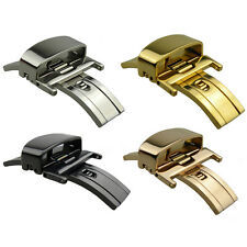 10mm~22mm Gold Polished Butterfly Deployment Watch BAND Strap Clasp Buckle K01_G