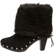MICHAEL KORS PARKER FAUX FUR SUEDE SEXY WOODEN CLOG ANKLE BOOTS BOOTIES