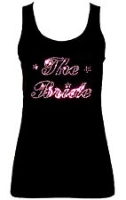 THE BRIDE WEDDING HEN NIGHT PINK CRYSTAL DIAMANTE  VESTS TANK TOPS all sizes