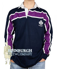 LONG SLEEVE COTTON RUGBY SHIRT..SCOTLAND PURPLE STRIPE DESIGN..NAVY..SIZES!
