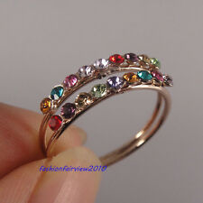 New 18K Rose Gold GP Inlaid 2 Row of Colorful Swarovski Crystal Ring IR050A