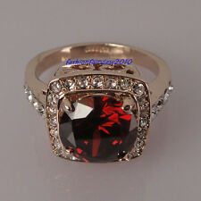 Rose Gold GP Swarovski Crystal Red Stone Cocktail Engagement Wedding Ring IR001C