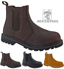 NEW MENS WALKLANDER DEALER SLIP ON STEEL SAFETY CHELSEA WORK BOOTS SHOES SIZES