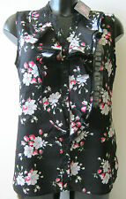 LADIES BC CLOTHING BLACK FLORAL LINEN SLEEVELESS TOP WITH RUFFLE - SIZES 10 - 18