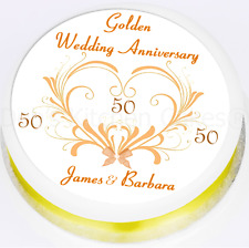 50th Wedding Anniversary Cake Topper - Personalised - Golden Wedding -  Icing