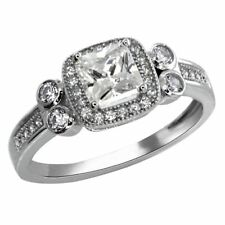 2.50 Ct 925 Silver Princess White Cubic Zirconia CZ Engagement Ring