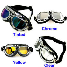 NEW WWII Motorcycle Scooter Pilot Cruiser Goggles: Tinted; Chrome; Yellow; Clear