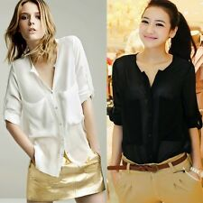New Women's See-through Chiffon Loose Collarless Long Sleeve Shirts Blouse Tops