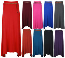 New Womens Gypsy Long Jersey Uneven Hem Ladies Belted Maxi Dress Skirt Size 8-14