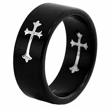 8mm Black Titanium Dome Satin Ring Silver Color Cross Inlay Men's Band