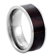 8mm Eternity Natural Suanzhi Rosewood Inlay Titanium Band Men's Wedding Ring