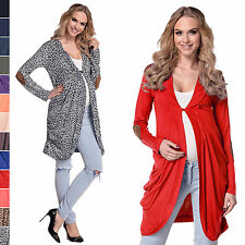 Happy Mama. Women's Maternity Jersey Cocoon Cardi Coat Jacket Patches. 286p