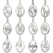 "Sterling Silver Flawless Quality ZODIAC Sign Charm/Pendant,18"" Italian Box Chain"