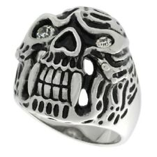 Stainless Steel Gothic Carved Cheek Bone Skull Biker Ring w/ Two Crystals rss503