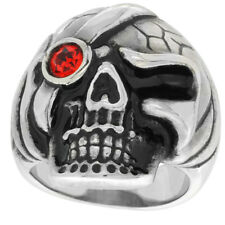 Stainless Steel Gothic Pirate Skull Biker Ring w/ Red CZ Stone Eye Patch