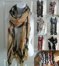 NEW women men long warm soft CRINKLE plaid/check scarf wrap shawl stole UNISEX