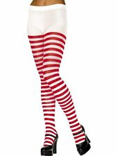 Ladies Striped Tights Black Red and White Wally Fancy Dress Halloween