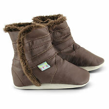 Classic Brown Leather Baby/Toddler/Kids Boots,Size from Birth To 3 Years