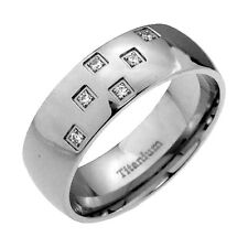 8mm Shiny Dome Titanium Round Cubic Zirconia Wedding Band Cz Silver Solitaire