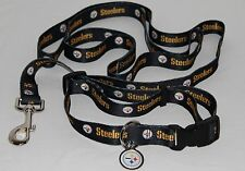 PITTSBURGH STEELERS Dog Collar & Leash ID Tag Pet Set NFL