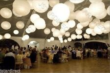 "10X Round White Paper Lanterns 8"",10"",12"",16"" Wedding Party with Led Light Decor"