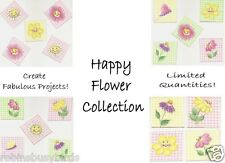 Happy Flower Collection  Scrapbooking fabric Embellishments Tags cards Crafts