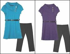 * NEW GIRLS  IZ Amy Byer Ribbed SWEATER Dress & Leggings Set 12.5