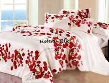 4 PCS 19MM 100% SILK PRINTED DUVET COVER FITTED SHEET PILLOWCASE SET ALL SIZE