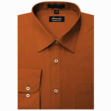 New Amanti Mens Solid Rust  Orange  Wedding Formal Dress Shirt