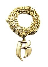 "NEW RUFF RYDERS 'R' HIP HOP PENDANT & 5mm/24"" FIGARO CHAIN NECKLACE - MSP324"