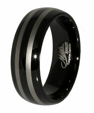 Tungsten Carbide Ring Black IP Double Stripe 8mm Full & Half Sizes 6 to 13