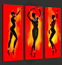 ABSTRACT AFRICAN NUDE DANCERS 3 PANELS CANVAS PRINT MANY SIZES FREE UK P&P