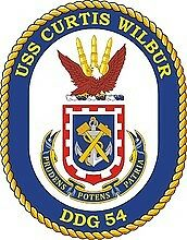 STICKER U.S. Navy USS Curtis Wilbur DDG 54 Destroyer Emblem Crest