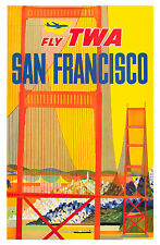 "Vintage Travel Art -San Francisco  Fly TWA - 24""x36""  Print on Canvas"
