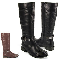 Ladies Boots Knee High Studded Winter Low Heel Flat Riding Womens Size 3-8 New