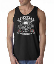 Lucky 7 Live To Ride Biker Skulls Aces Spades Chopper 100% Cotton Tank Top