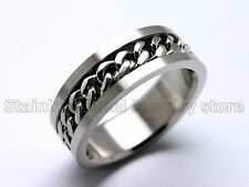 Mens Stainless Steel Ring Silver Curb Chain Center Multi US Size Cool Fashion