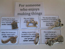 Choose 6 charms for someone creative + quotes - good for card & scrapbook makers