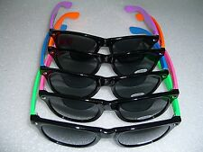 TWO TONE RETRO BLACK WAYFARER STYLE SUNGLASSES 80's VINTAGE SHADES
