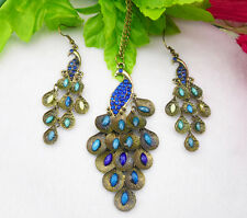 Antique Bronze Peacock Multi Sequin Chandelier necklace earrings group Z0