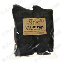 Maggie's Organics Cotton Crew Value 6 Pairs Socks Black 9-11, 10-13 Made in USA