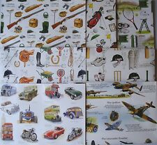 QUALITY BIRTHDAY GIFT WRAPPING PAPER - THEMED SPORTS & VINTAGE CARS & AEROPLANES