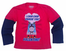Thomas the Train Kids Boys Toddler Mock Layer Valentine Long Sleeve Shirt Tee