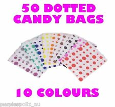 50 CANDY BAGS Buffet Lolly Bar Wedding Paper Polka Dot Dotted Party Favor Gift