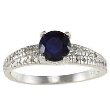 Sterling Silver 1.58ct Genuine Blue Sapphire and Diamond Ring