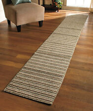 "X LONG 60"" NONSLIP STRIPED RUNNER SAND TAN BLUE RUG ENTRYWAY HALLWAY HOME DECOR"